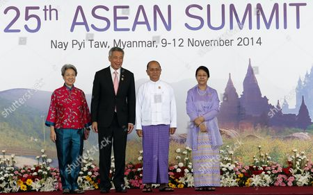 Singapore Prime Minister Lee Hsien Loong (2-l) and Wife Ho Ching (l) with Myanmar President Thein Sein (3- L) with His Wife Khin Khin Win (r) at the Welcoming Ceremony of the 25th Association of South East Asian Nations (asean) Summit at the Myanmar International Convention Center in Naypyitaw Myanmar 12 November 2014 Myanmar Hosts the Summit From 09-13 November Between Asean Member Countries and Its Dialogue Partners Also a Meeting of the East Asia Summit (eas) Forum Aimed to Strengthen Political and Cultural Ties and Discuss Solution and Advancements of a Robust Global Economy Myanmar Naypyitaw