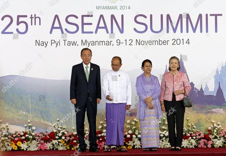 United Nations Secretary General Secretary General Ban Ki-moon (l) with His Wife Yoo Soon-taek (r) Pose For a Photo with Myanmar President Thein Sein (2-l) and His Wife Khin Khin Win (2-r) at the Official Greeting at the Start of the 25th Association of South East Asian Nations (asean) Summit Opening Ceremony in Naypyitaw Myanmar 12 November 2014 Myanmar Hosts the Summit From 09-13 November Between Asean Member Countries and Its Dialogue Partners Also a Meeting of the East Asia Summit (eas) Forum Aimed to Strengthen Political and Cultural Ties and Discuss Solution and Advancements of a Robust Global Economy Myanmar Naypyitaw
