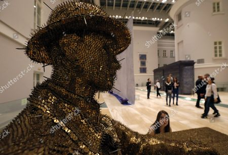 Visitors Look at the Flemish Artist Jan Fabre Artwork 'Me Dreaming' (nails Thumbnails) During the Exhibition 'Knight of Despair/warrior of Beauty' Displayed in the Hermitage State Museum in St Petersburg Russia 21 October 2016 the Exhibition Runs From 21 October to 09 April 2017 Russian Federation St. Petersburg