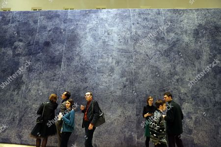Visitors Look at the Flemish Artist Jan Fabre Artwork 'The Road From the Earth to the Stars is not Paved' (bic Ink on Silk) During the Exhibition 'Knight of Despair/warrior of Beauty' Displayed in the Hermitage State Museum in St Petersburg Russia 21 October 2016 the Exhibition Runs From 21 October to 09 April 2017 Russian Federation St. Petersburg