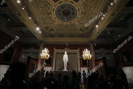 Visitors Look at the Flemish Artist Jan Fabre Artwork 'My Future Queen Elizabeth of Belgium' During the Exhibition 'Knight of Despair/warrior of Beauty' Displayed in the Hermitage State Museum in St Petersburg Russia 21 October 2016 the Exhibition Runs From 21 October to 09 April 2017 Russian Federation St. Petersburg