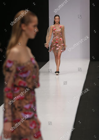 Models Present Creations by Designer Yasya Minochkina During the Mercedes-benz Fashion Week Russia in Moscow Russia 14 October 2016 the Presentation of the Spring/summer 2017 Collections Runs From 13 to 17 October Russian Federation Moscow