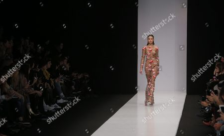 A Model Presents a Creation by Designer Yasya Minochkina During the Mercedes-benz Fashion Week Russia in Moscow Russia 14 October 2016 the Presentation of the Spring/summer 2017 Collections Runs From 13 to 17 October Russian Federation Moscow