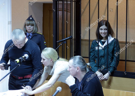 Russian Feminist Punk-rock Band Pussy Riot Member Nadezhda Tolokonnikova (r) Attends a Court Session at the Zubova Polyana District Court in Town of Zubova Polyana 440 Km Southeast From Moscow Republic of Mordovia Russia 26 April 2013 the Court Considers Nadezhda Tolokonnikova's Appeal For Parole in August 2012 Three Members of Russian Feminist Punk-rock Band Pussy Riot Yekaterina Samutsevich Maria Alyokhina and Nadezhda Tolokonnikova Were Sentenced to Two Years in Prison on Charges of Hooliganism Motivated by Religious Hatred After Singing a Song in the Christ the Savior Cathedral in Moscow in February 2012 Ahead of Presidential Elections in Russia Russian Federation Zubova Polyana