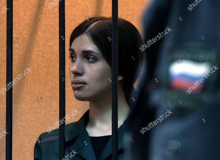 Russian Feminist Punk-rock Band Pussy Riot Member Nadezhda Tolokonnikova Listens to the Court Verdict From a Cage During a Court Session at the Zubova Polyana District Court in Town of Zubova Polyana 440 Km Southeast From the Center of Moscow Republic of Mordovia Russia 26 April 2013 the Court Rejected Tolokonnikova's Appeal For Parole in August 2012 Russian Feminist Punk-rock Band Pussy Riot Three Members Yekaterina Samutsevich Maria Alyokhina and Nadezhda Tolokonnikova Were Sentenced to Two-year Prison on Charges of Hooliganism Motivated by Religious Hatred After Singing a Song in the Christ the Savior Cathedral in Moscow in February 2012 Ahead of Presidential Elections in Russia Later the Court Replaced Yekaterina Samutsevich's Jail Term For a Suspended Sentence Russian Federation Zubova Polyana