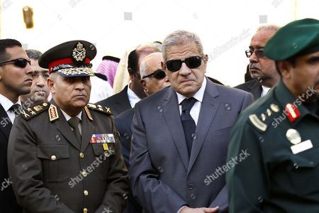 Saudi Arabia(r) Prime Minister Ibrahim Mahlab(l) Egypt and Egyptian Minister of Defense Team Sedki Sobhi During Their Condolences Over the Death of King Abdullah Bin Abdul Aziz Mosque in Prince Turki Bin Abdullah Bariyad in Riyadh Saudi Arabia 23 January 2015 Saudi King Abdullah Died in the Early Hours of 23 January Aged 90 After Ruling Since 2005 Though He Had Been Defacto Ruler Since 1995 when the Then King Fahd His Half Brother Suffered a Stroke He is Succeeded by His Half Brother 79 Year Old King Salman Bin Abdulaziz Al-saud Saudi Arabia Riyadh