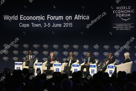 Stock Picture of (l-r) Makhtar Diop Vice-president Africa World Bank; Antony Jenkins Group Chief Executive Barclays United Kingdom; Donald Kaberuka Outgoing President of the African Development Bank; Minister of Finance of Rwanda Claver Gatete; Minister of Finance of South Africa Nhlanhla Nene and Bronwyn Nielsen Senior Anchor and Executive Director Cnbc Africa During the World Economic Forum on Africa at the Cape Town International Convention Centre South Africa 05 June 2015 the World Economic Forum on Africa in 2015 Marks 25 Years of Change on the Continent According to the World Economic Forum Over the Past Fifteen Years Africa Has Demonstrated an Economic Turnaround Growing Two to Three Percentage Points Faster Than Global Gdp Some of the Highlight Discussions at This Years Meeting Focused on Food Security and Agriculture and Also the Various Options and Areas of Investment South Africa Cape Town