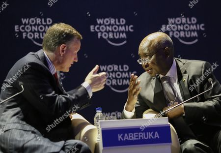 Antony Jenkins Group Chief Executive Barclays United Kingdom (l) Talks with Donald Kaberuka Outgoing President of the African Development Bank (r) During the World Economic Forum on Africa at the Cape Town International Convention Centre South Africa 05 June 2015 the World Economic Forum on Africa in 2015 Marks 25 Years of Change on the Continent According to the World Economic Forum Over the Past Fifteen Years Africa Has Demonstrated an Economic Turnaround Growing Two to Three Percentage Points Faster Than Global Gdp Some of the Highlight Discussions at This Years Meeting Focused on Food Security and Agriculture and Also the Various Options and Areas of Investment South Africa Cape Town