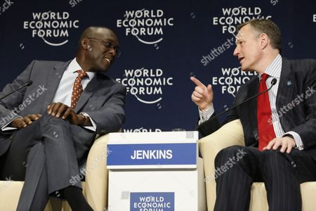 Antony Jenkins Group Chief Executive Barclays United Kingdom (r) Talks with Makhtar Diop Vice-president Africa World Bank (l) During the World Economic Forum on Africa at the Cape Town International Convention Centre South Africa 05 June 2015 the World Economic Forum on Africa in 2015 Marks 25 Years of Change on the Continent According to the World Economic Forum Over the Past Fifteen Years Africa Has Demonstrated an Economic Turnaround Growing Two to Three Percentage Points Faster Than Global Gdp Some of the Highlight Discussions at This Years Meeting Focused on Food Security and Agriculture and Also the Various Options and Areas of Investment South Africa Cape Town