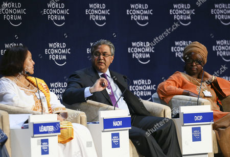 Frannie Leautier Executive Secretary the African Capacity Building Foundation Zimbabwe (l) and Bineta Diop Chair of the Executive Board Femmes Africa Solidarite Switzerland (r) Listen to Arif Naqvi Founder and Group Chief Executive the Abraaj Group United Arab Emirates (c) During the Africa 2063: From Fragility to Stability Plenary Session at the World Economic Forum on Africa 2013 in the Cape Town International Convention Centre South Africa 10 May 2013 Under the Theme Delivering on Africas Promise the 23rd World Economic Forum on Africa is a Platform For Regional and Global Leaders From Business Government and Civil Society to Deepen the Continents Integration Agenda and Renew Commitment to a Sustainable Path of Growth and Development South Africa Cape Town