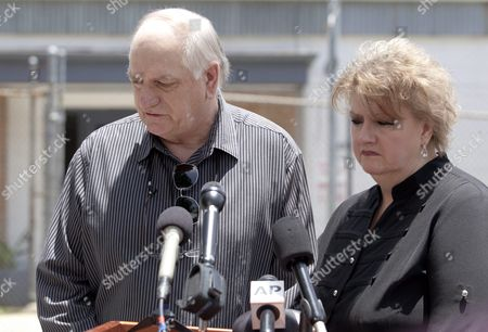 Stan Miller and Wanda Callender Siblings of Slain Prison Guard Brent Miller Address the Media After Inmate Albert Woodfox was Denied a Judge's Ruling to Be Released in St Francisville Louisiana Usa 12 June 2015 Woodfox Has Spent the Last 43 Years in Solitary Confinement Woodfox was Twice Convicted of Killing Louisiana State Penitentiary Guard Brent Miller in April 1972 Two Other Inmates Also Convicted who Served Time in Solitary Confinement Were Previously Released Woodfox the Last of the 'Angola Three ' was Ordered Released by Us District Judge James J Brady and the Decision is in the Hands of the 5th Circuit Court of Appeals United States St. Francisville