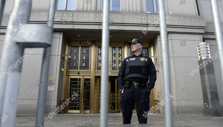 A Guard Stands in Front of the Federal Court House in Lower Manhattan New York Usa 14 April 2014 Jury Selection Begins on 14 April in the Trial of Abu Hamza a Disabled Egyptian Islamic Preacher who was Extradited From Britain on Charges He Conspired to Support Al-qaida in Part by Trying to Create a Training Camp in Oregon 15 Years Ago United States New York