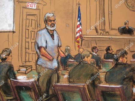 A Courtroom Sketch Provided on 14 April 2014 Shows Abu Hamza (c) During Jury Selection at the Federal Court House in Lower Manhattan New York Usa 14 April 2014 Jury Selection Begins on 14 April in the Trial of Abu Hamza a Disabled Egyptian Islamic Preacher who was Extradited From Britain on Charges He Conspired to Support Al-qaida in Part by Trying to Create a Training Camp in Oregon 15 Years Ago Defense Attorneys Julie Howe Joshua Dratel and Jeremy Schneider Are Seen (l-r) United States New York