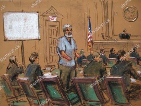 A Courtroom Sketch Provided on 14 April 2014 Shows Abu Hamza (c) During Jury Selection at the Federal Court House in Lower Manhattan New York Usa 14 April 2014 Jury Selection Begins on 14 April in the Trial of Abu Hamza a Disabled Egyptian Islamic Preacher who was Extradited From Britain on Charges He Conspired to Support Al-qaida in Part by Trying to Create a Training Camp in Oregon 15 Years Ago Also Pictured Defense Attorneys Julie Howe (2nd L) Joshua Dratel (2nd R) and Jeremy Schneider (r) Person on Left is Unidentified United States New York