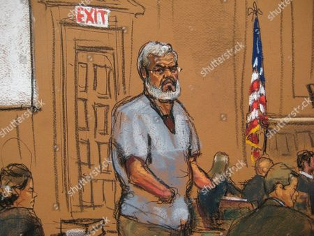 A Courtroom Sketch Provided on 14 April 2014 Shows Abu Hamza (c) During Jury Selection at the Federal Court House in Lower Manhattan New York Usa 14 April 2014 Jury Selection Begins on 14 April in the Trial of Abu Hamza a Disabled Egyptian Islamic Preacher who was Extradited From Britain on Charges He Conspired to Support Al-qaida in Part by Trying to Create a Training Camp in Oregon 15 Years Ago United States New York