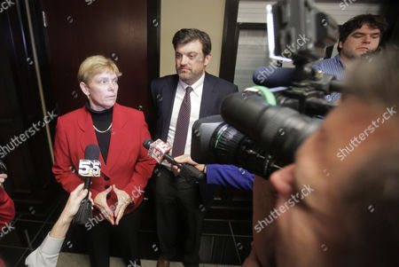 Attornerys Chirstine Hernandez and David Kennedy Talk to the Media After Filing a Federal Contempt Motion Against the Mobile County Probate Judge in Mobile Alabama Usa 09 February 2015 Although Same-sex Marraiges Have Been Issue From Other Counties in Alabama Mobile Has Yet to Open It's Office and Issue Marriages to Any Couple United States Mobile