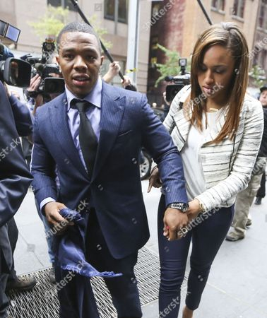Former Baltimore Ravens Running Back Ray Rice (l) Walks with His Wife Janay Palmer (r) As They Arrive For an Arbitration Hearing with Nfl Commissioner Roger Godell and a Judge who Will Hear Rice's Arguments That He Should not Be Indefinitely Suspended by the League For Domestic Violence in New York New York Usa 05 November 2014 Rice was Allegedly Caught on an Atlantic City New Jersey Usa Hotel Elevator Security Video Striking and Knocking out Palmer who at That Time was His Fiance in February 2014 Rice was Initially Given a Two Game Suspension Additional Video Released Later Prompted the League to Issue the Indefinite Suspension and For the Ravens to Fire Rice United States New York