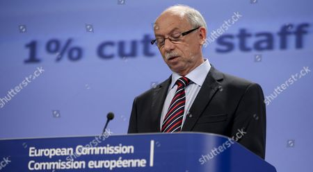 Polish European Commissioner For Budget and Financial Janusz Lewandowski Gives a Press Briefing on 2015 Eu Draft Budget at Eu Commission Headquarters in Brussels Belgium 12 June 2014 Eu's 2015 Draft Budget As Adopted by the Commission Today (commitments: 145 6 Billion Euro ; Payments: 142 1 Billion Euro) the Bulk of the Commitments is For Future Projects That Make Europe Stronger Economically Whereas Some 40% of the Payments Still Cover Eu Funded Projects From the 2007-2013 Financial Period Also the Commission is Proposing a Further 1% Reduction in Its Staff Numbers the Third Such Cut in Three Years Belgium Brussels