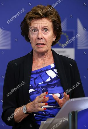 Neelie Kroes Vice President of the European Commission in Charge of Digital Agenda and Pascal Lamy (not Pictured) Former Director General of the World Trade Organisation (wto) and Chairman of the Advisory Group Present the Report on the Future Use of Uhf Spectrum For Tv and Wireless Broadband at the Eu Commission Headquarters in Brussels Belgium 01 September 2014 Main Recommendations Include a Method For Further Sharing of 700mhz Spectrum For Broadband Use While Preserving Opportunities For Tv Belgium Brussels
