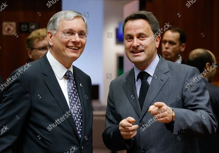 Stock Picture of Austrian Minister of Transport Innovation and Technology Alois Stoeger (l) Chats with Luxembourg's Prime Minister Xavier Bettel (r) at the Start of a Eu Council Meeting on Transport Telecommunications and Energy at the Eu Council Headquarters in Brussels Belgium 27 November 2014 the Council Will Mainly Work on Telecommunications Issues Belgium Brussels