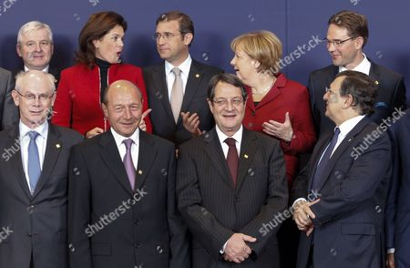 (l-r Front) European Council President Herman Van Rompuy Romanian President Traian Basescu Cypriot President Nicos Anastasiades European Commission President Jose Manuel Barroso (l-r Back) Czech Prime Minister Jiri Rusnok Slovenian Prime Minister Alenka Bratusek Portuguese Prime Minister Pedro Passos Coelho German Chancellor Angela Merkel and Finnish Prime Minister Jyrki Katainen Pose During a Family Photo at the European Council Summit in Brussels Belgium 24 October 2013 the European Council Summit on 24 and 25 October Will Focus on Economic and Social Policy Issues the Economic and Monetary Union As Well As Migratory Flows and Migration Policy Belgium Brussels