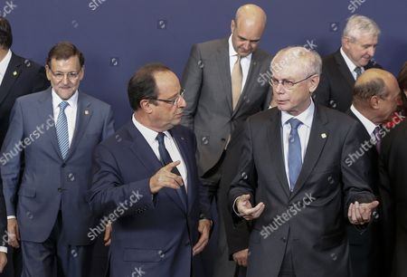 (l-r) Spanish Prime Minister Mariano Rajoy French President Francois Hollande Swedish Prime Minister Fredrik Reinfeldt European Council President Herman Van Rompuy Czech Prime Minister Jiri Rusnok and Romanian President Traian Basescu During a Family Photo During the European Council Summit in Brussels Belgium 24 October 2013 the European Council Summit on 24 and 25 October Will Focus on Economic and Social Policy Issues the Economic and Monetary Union As Well As Migratory Flows and Migration Policy Belgium Brussels