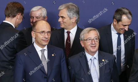 (l-r) Finnish Prime Minister Jyrki Katainen Czech Prime Minister Jiri Rusnok Italian Prime Minister Enrico Letta Austrian Chancellor Werner Faymann Luxembourgish Prime Minister Jean-claude Juncker and Bulgarian Prime Minister Plamen Oresharski During a Family Photo at the European Council Summit in Brussels Belgium 24 October 2013 the European Council Summit on 24 and 25 October Will Focus on Economic and Social Policy Issues the Economic and Monetary Union As Well As Migratory Flows and Migration Policy Belgium Brussels