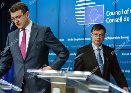 Latvia's Finance Minister Janis Reirs (l) and European Commission Vice-president in Charge of the Euro and Social Dialogue Valdis Dombrovskis (r) of Latvia Arrive For a Joint News Conference at the End of European Finance Ministers Meeting at Eu Council Headquarters in Brussels Belgium 27 January 2015 Belgium Brussels