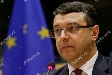 Janis Reirs Ecofin President and Minister For Finance of Latvia Speaks During a Committee on Economic and Monetary Affairs Meeting at the Eu Parliament in Brussels Belgium 21 January 2015 the Committee Discussed the Annual Report on Eu Competition Policy Belgium Brussels