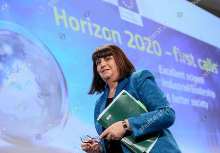 European Commissioner For Research Innovation and Science Maire Geoghegan-quinn of the Republic of Ireland After Her News Conference on Horizon 2020 Funding at Eu Headquarters in Brussels Belgium 11 December 2013 the European Commission Has Today For the First Time Presented Calls For Projects Under Horizon 2020 the European Union's 80 Billion Euro Research and Innovation Programme Worth More Than 15 Billion Euros Over the First Two Years the Funding is Intended to Help Boost Europe's Knowledge-driven Economy and Tackle Issues That Will Make a Difference in People's Lives This Includes 12 Areas That Will Be a Focus For Action in 2014/2015 Including Topics Such As Personalised Healthcare Digital Security and Smart Cities Belgium Brussels