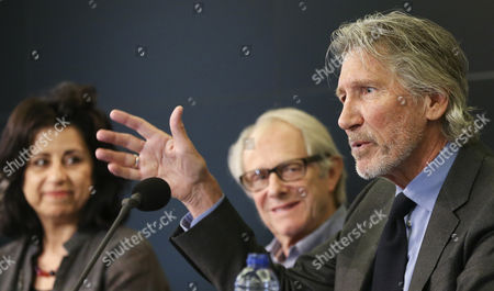 British Musician Roger Waters (r) British Director Ken Loach (c) and Egyptian Writer Ahdaf Soueif (l) Attend a News Conference of the Jury of an Extraordinary Session of the Russell Tribunal on Palestine in Brussels Belgium 25 September 2014 Members of the Russell Tribunal on Palestine Recently Began an Extraordinary Session Looking Into Israel's Operation 'Protective Edge' Against Gaza Israel Launched Operation 'Protective Edge' on 08 July to Destroy Attack Tunnels and Quell Rocket Fire Leading to the Deaths of More Than 2 000 Palestinians and 68 Israelis Mainly Soldiers Belgium Brussels