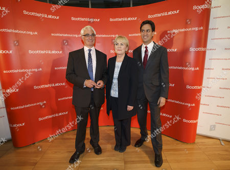 The Day After the Vote at the Emirates Arena Glasgow L to R : Better Together Leader Alistair Darling Scottish Labour Leader Johann Lamont and Labour Leader Ed Miliband the Better Together Winning Campaign at Meeting of Labour Party Campaigners After Their Victory Glasgow Scottish Independence Referendum 19 09 14 United Kingdom Glasgow