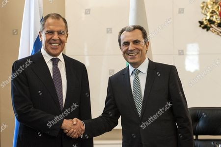 Stock Picture of The Foreign Ministers of Russia Sergei Lavrov (l) Meets the Bulgarian Prime Minister Plamen Oresharski (r) in Sofia on July 7 2014 Sergei Lavrov is on a Two Days Official Visit to Bulgaria Bulgaria Sofia