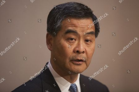 Hong Kong Chief Executive Leung Chun-ying is Seen at a Press Conference to Announce That He Will Lead a Delegation of 70 Lawmakers From Hong Kong to a Seminar in Shanghai in April Hong Kong China 12 March 2014 He Said the Central Government Accepted His Proposal to Arrange the Visit For All of the City's Legislative Councillors where They Hope to Discuss Topics of Mutual Interest China Hong Kong