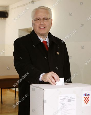 Croatian President Ivo Josipovic Casts His Vote During the Second Round of the Presidential Election in Zagreb Croatia 11 January 2015 Polls Opened in Croatia As Voters Cast Their Ballots in what is Expected to Be a Closely-fought Presidential Run-off Between the Incumbent Social Democrat (sdp) Ivo Josipovic and His Conservative Challenger Kolinda Grabar-kitarovic Croatia Zagreb