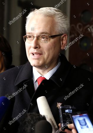 Croatian President Ivo Josipovic Speaks to Members of the Media During the Second Round of the Presidential Election in Zagreb Croatia 11 January 2015 Polls Opened in Croatia As Voters Cast Their Ballots in what is Expected to Be a Closely-fought Presidential Run-off Between the Incumbent Social Democrat (sdp) Ivo Josipovic and His Conservative Challenger Kolinda Grabar-kitarovic Croatia Zagreb