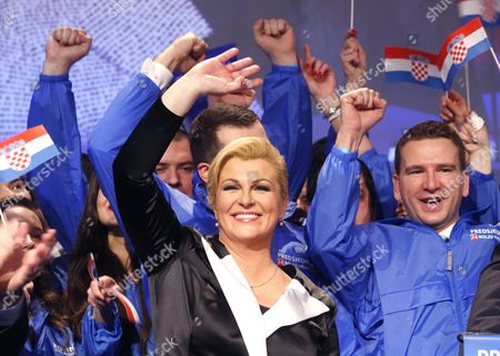 Kolinda Grabar Kitarovic Celebrates Her Victory Against Ivo Josipovic in the Presidential Elections in Zagreb Croatia 11 January 2015 Kolinda Grabar-kitarovic Defeated Incumbent Social Democrat Ivo Josipovic in a Run-off Vote to Become the First Female President in Croatia Since Its Independence and the First Conservative in the Office in 15 Years Croatia Zagreb