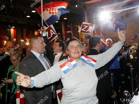 Supporters of Kolinda Grabar Kitarovic Celebrate Her Victory Against Ivo Josipovic in the Presidential Elections in Zagreb Croatia 11 January 2015 Kolinda Grabar-kitarovic Defeated Incumbent Social Democrat Ivo Josipovic in a Run-off Vote to Become the First Female President in Croatia Since Its Independence and the First Conservative in the Office in 15 Years Croatia Zagreb