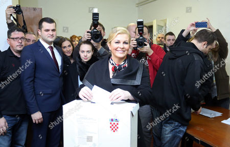 Presidential Candidate of the Croatian Democratic Union (hdz) Kolinda Grabar-kitarovic Casts Her Ballot at a Polling Station in Zagreb Croatia 11 January 2015 Polls Opened in Croatia As Voters Cast Their Ballots in what is Expected to Be a Closely-fought Presidential Run-off Between the Incumbent Social Democrat (sdp) Ivo Josipovic and His Conservative Challenger Kolinda Grabar-kitarovic Croatia Zagreb