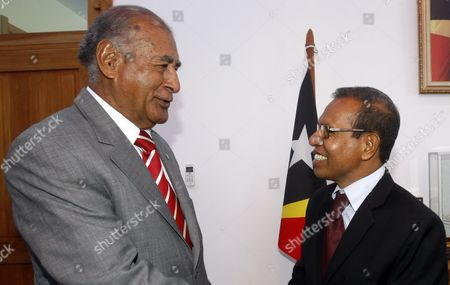Stock Photo of Fiji's President Ratu Epeli Nailatikau (l) Talks to East Timor's President Jose Maria Vasconcelos Also Known As Taur Matan Ruak During Their Meeting in Dili East Timor 28 February 2014 Ratu Epeli Nailatikau is in a Two-day Visit to East Timor Also Known As Timor Leste to Tighten Bilateral Relationship Between the Two Countries East Timor Dili