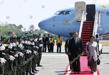 Indonesia's President Susilo Bambang Yudhoyono (l) and His Wife Ani Yudhoyono Arrive at Komoro Airport in Dili East Timor 25 August 2014 Yudhoyono is in an Official Visit to Tighten Bilateral Relationship Between Indonesia and East Timor Also Known As Timor Leste East Timor Dili