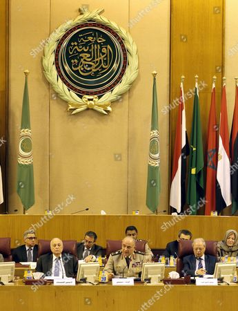 The Chief of Staff of the Egyptian Armed Forces Mahmoud Hegazi (c) and Arab League Secretary General Nabil Al-arabi (l) Attend the Arab Chiefs of Staff Meeting in Cairo Egypt 23 May 2015 Arab Chiefs of Staff Met in Cairo to Discuss Formation of Joint Arab Military Task Force Egypt Cairo