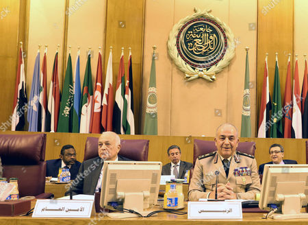 The Chief of Staff of the Egyptian Armed Forces Mahmoud Hegazi (r) and Arab League Secretary General Nabil Al-arabi (l) Attend the Arab Chiefs of Staff Meeting in Cairo Egypt 23 May 2015 Arab Chiefs of Staff Met in Cairo to Discuss Formation of Joint Arab Military Task Force Egypt Cairo