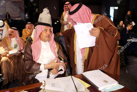 Saudi Foreign Minister Prince Saud Al-faisal (l) Attends the Closing Session of the Arab League Summit in Sharm El-sheikh Egypt 29 March 2015 the Arab League Summit Wrapped Up a Two-day Meeting That Focused on the Mounting Turmoil and Radicalism in the Region Egypt Sharm El-sheikh