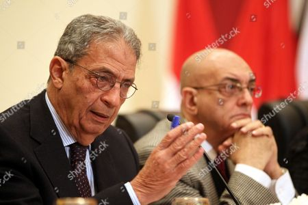 Head of the Egyptian Constitutional Committee Amr Moussa (l) Speaks During a Press Conference with Committee Spokesman Mohamed Salmawy (r) in Cairo Egypt 15 December 2013 Egyptian Interim President Adly Mansour Announced on 14 December That a Referendum on a Draft Constitution Will Be Held on 14-15 January 2014 Marking the First Major Step in the Country's Military-backed Political Transition Egypt Cairo