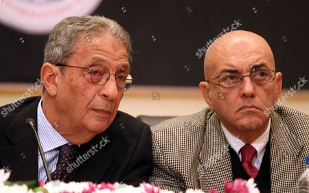 Head of the Constitutional Committee Amr Moussa (l) Speaks During a Press Conference with Committee Spokesman Mohamed Salmawy (r) in Cairo Egypt 15 December 2013 Egypt's Interim President Adly Mansour Announced on 14 December 2013 Hat a Referendum on a Draft Constitution Will Be Held on January 14-15 Marking the First Major Step in the Country's Military-backed Political Transition Egypt Cairo