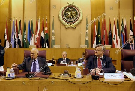Spanish State Secretary For Foreign Affairs Gonzalo De Benito (r) and Arab League Secretary General Nabil Al-araby (l) Attend a Meeting with Arab Ambassadors at the Arab League Headquarters in Cairo Egypt 04 February 2015 Egypt Cairo