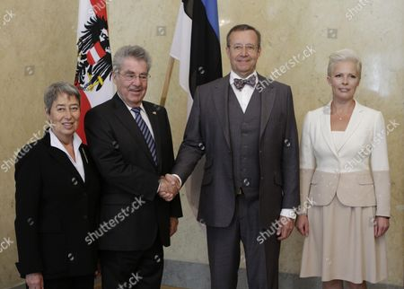 Austrian President Heinz Fischer (2nd L) Estonia's First Lady Evelin Ilves (r) and Austria's First Lady Margit Fischer (l)pose For the Media During Their Meeting in Tallinn Estonia 30 June 2014 Austrian President Heinz Fischer is on a One Day Visit to Estonia During Which He is Expected to Discuss the Current Political Situation in Ukraine and Relations with Russia with Estonian Officials Estonia Tallinn