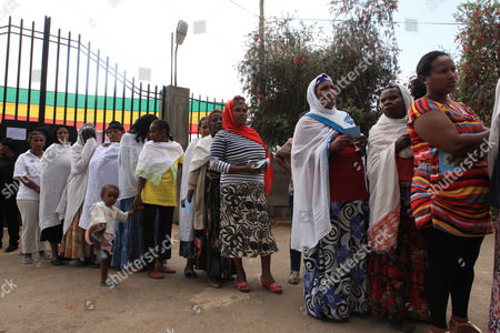 Female Residents Queue For the Ethiopian Presidential Elections at the Bole Subcity Polling Station in the Capital Addis Ababa Ethiopia 24 May2015 the Elections Are the First Since Since the Death of Prime Minister Meles Zenawi and It is Expected That His Successor Hailemariam Desalegn is Certain to Stay in Office an Estimated 37 Million People Are Thought to Vote Today Ethiopia Addis Ababa