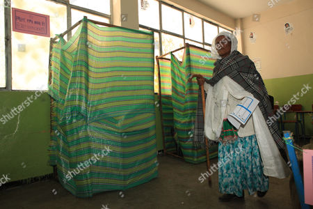 An Elderly Woman Votes in the 'Kechene Medianealem' Church in the Ethiopian Presidential in the Capital Addis Ababa Ethiopia 24 May2015 the Elections Are the First Since Since the Death of Prime Minister Meles Zenawi and It is Expected That His Successor Hailemariam Desalegn is Certain to Stay in Office an Estimated 37 Million People Are Thought to Vote Today Ethiopia Addis Ababa